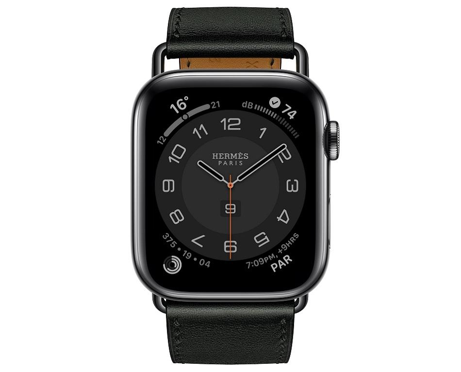 Apple Watch Hermes Series 6 44mm noir Swift calfskin simple tour Attelage band.jpg