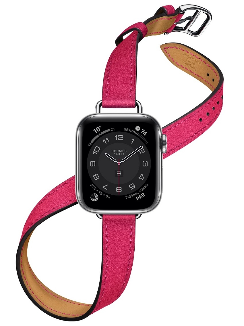 Apple Watch Hermes Series 6 40mm rose Mexico Swift calfskin double tour Attelage band.jpg
