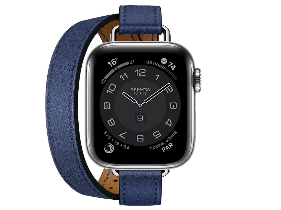Apple Watch Hermes Series 6 40mm bleu saphir Swift calfskin double tour Attelage band.jpg