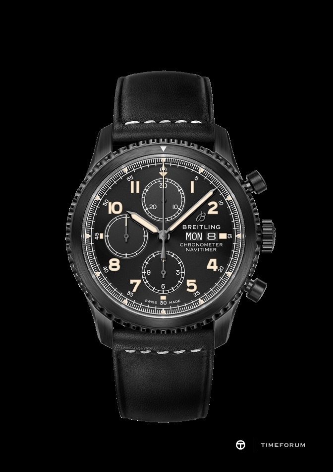 Navitimer 8 Chronograph Blacksteel with black dial and black leather strap.jpg
